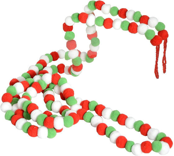TenWaterloo 9 Foot Pom Pom Christmas Garland in Red, Green and White with Beaded Hanging Loops, 108 Inches Christmas and Holiday Decor