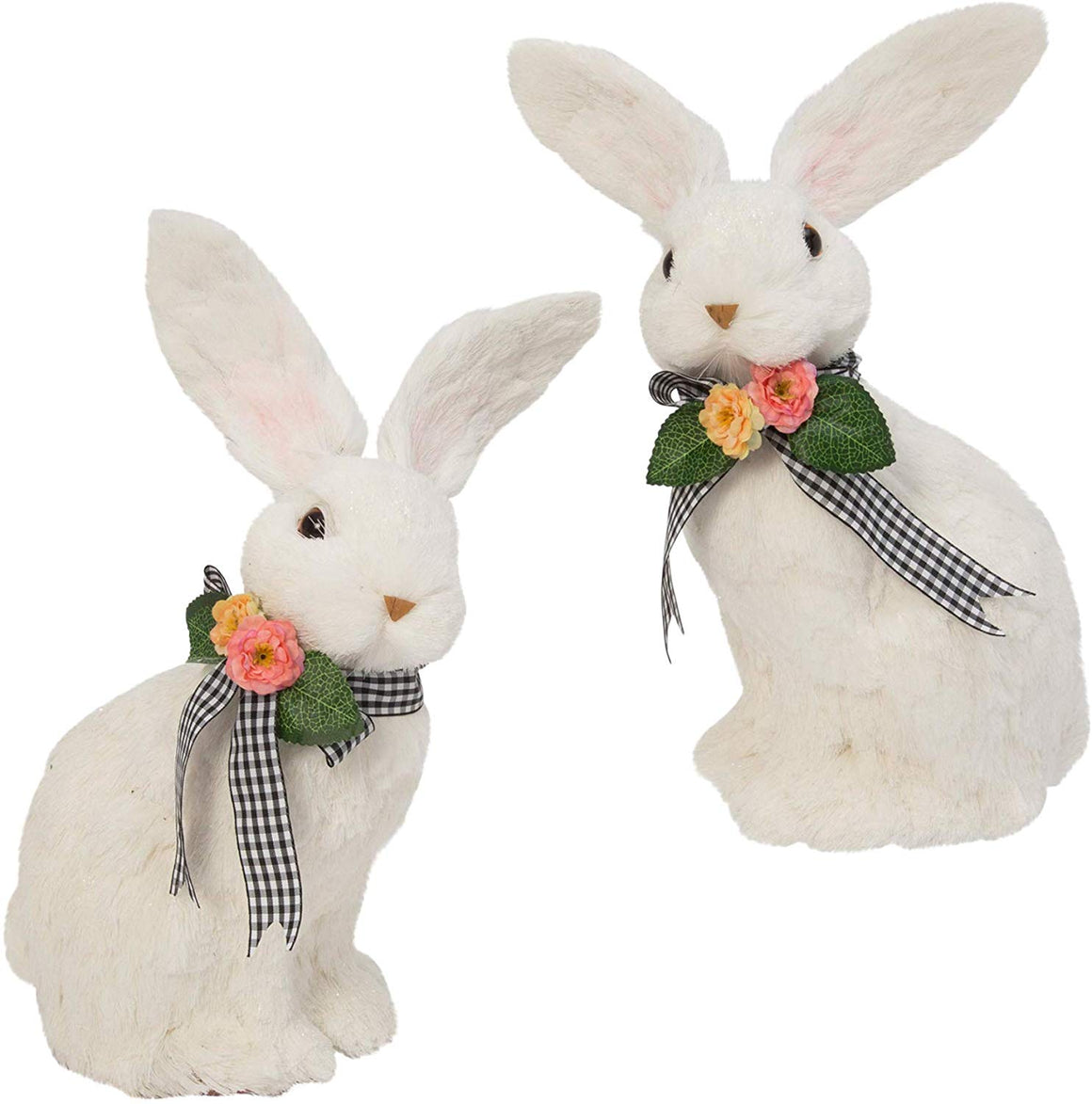GER Set of 2 White Handcrafted Easter Rabbits, 12.5 Inches High, Easter Bunnies with Black and White Bow Accents
