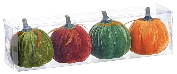 Set of 4 Small Velvet Pumpkins, Orange, Green, Burgundy and Teal