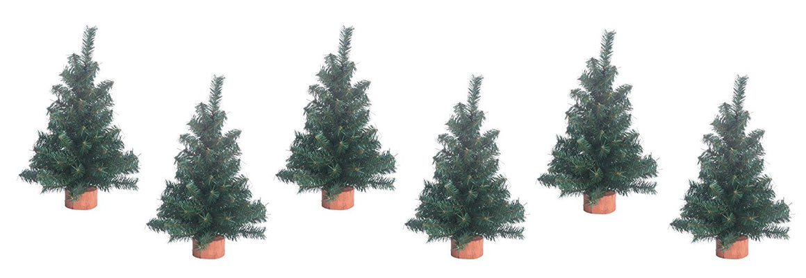 Set of 6 Tabletop Christmas Pine Trees 12 Inches High on Wood Bases - Artificial Christmas Pine Trees