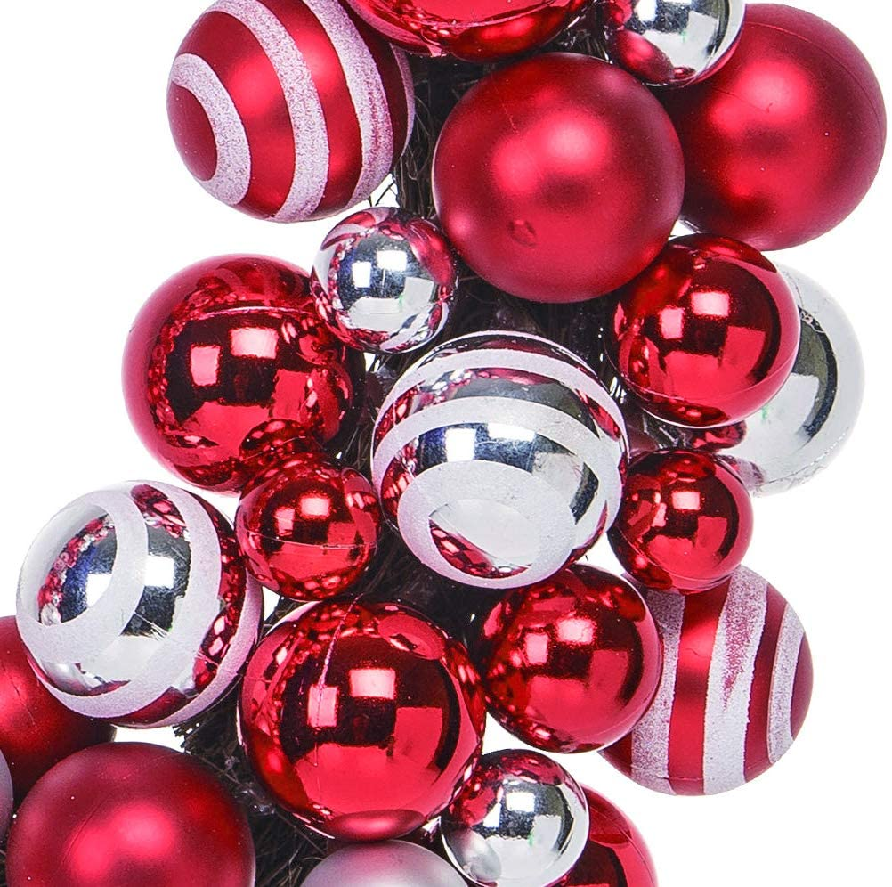 18 Inch Red, Silver and White Christmas Ornament Wreath, Shatterproof Ball Ornaments Front Door Wreath on a Natural Twig Base