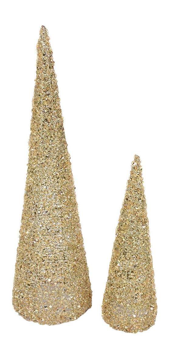TenWaterloo 15 Inch and 24 Inch High Beaded and Sequin Glittered Gold Christmas Cone Trees Set of 2