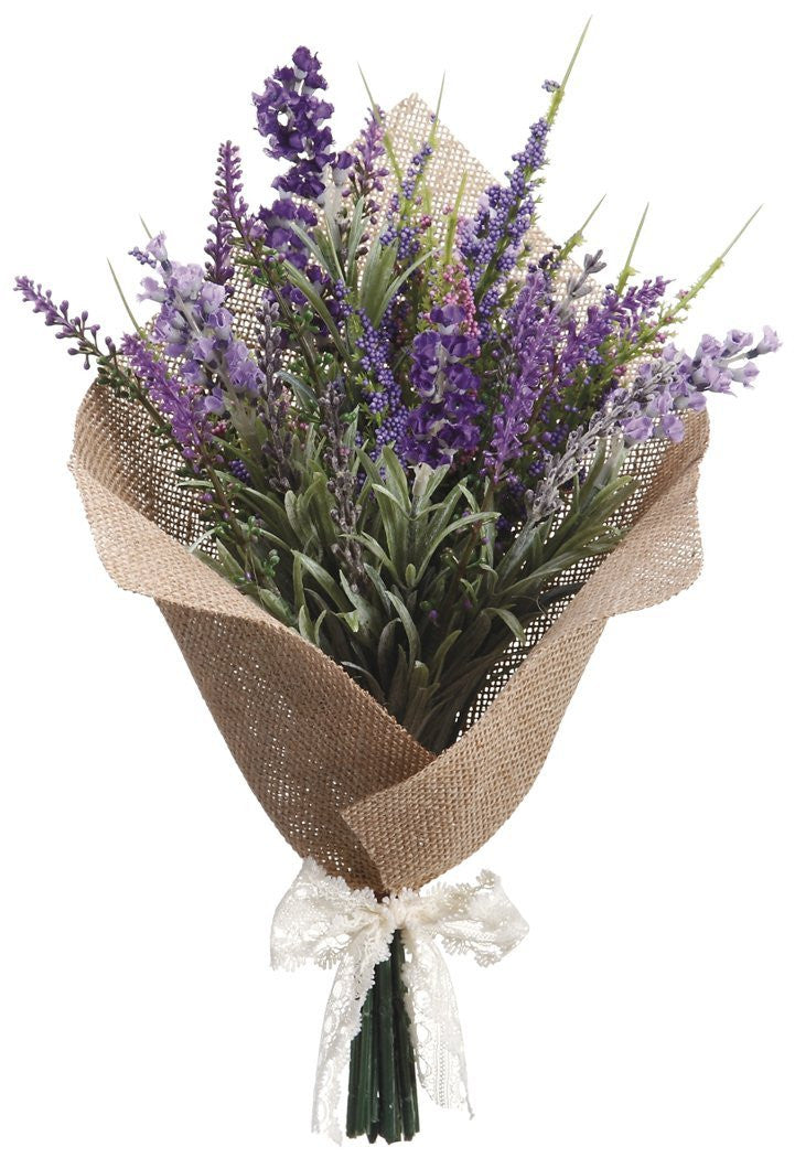 13 Inch Artificial Lavender Bouquet Arrangement In Burlap Wrap With Accent Bow