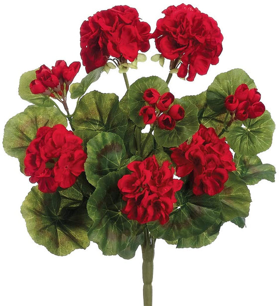 Red Artificial Geranium Bush 13 Inches High, Geranium Flowers Variegated Green Leaves