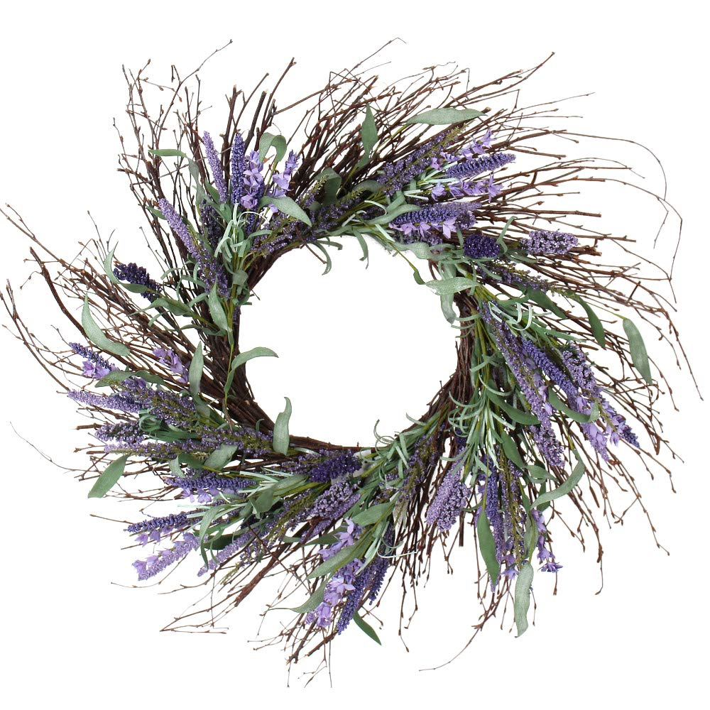 Ten Waterloo 24 Inch Artificial Lavender and Twig Spring Wreath