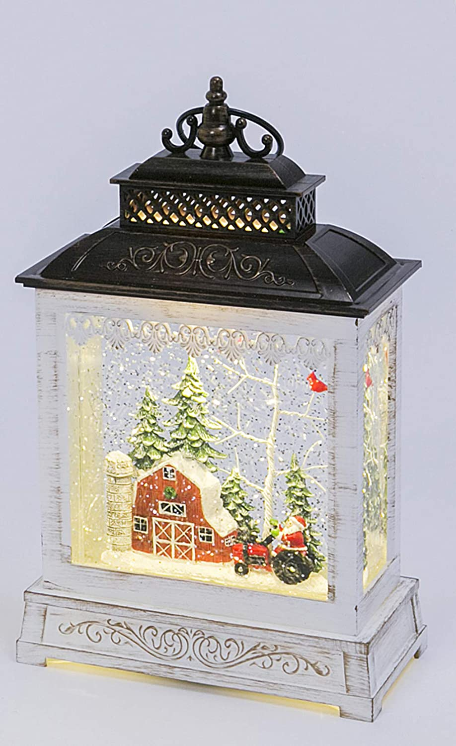 Red Barn with Santa on His Red Tractor Christmas Musical Lighted Water Lantern, 9 Inches High, Battery Operated with Timer- 2 Modes, Christmas Snow Globe with Swirling Glittered Snow Effect