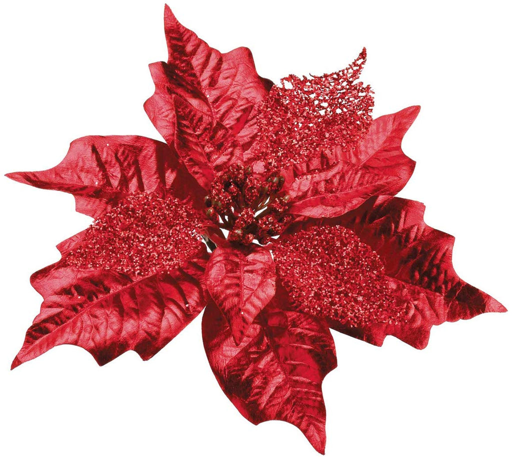 TenWaterloo Set of 24 Red Glittered Metallic Poinsettia with Clips, Poinsettia Ornaments, Artificial Poinsettia