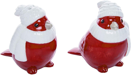 Ceramic Red Christmas Cardinal Bird Salt and Pepper Shaker Set, Winter and Holiday Table Decor