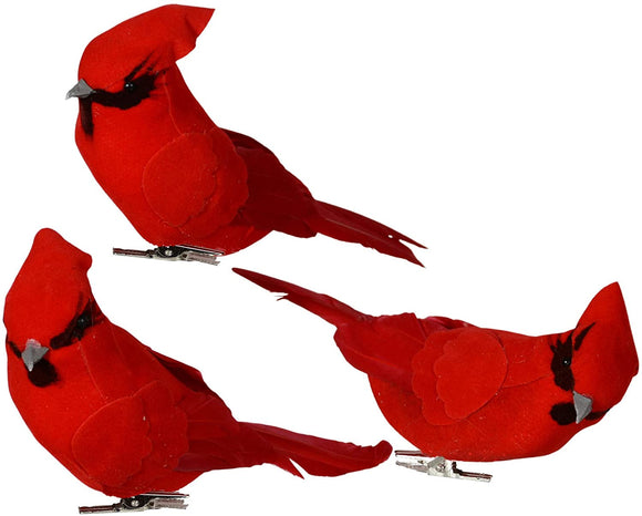 TenWaterloo Red Velvet Christmas Cardinal Birds - Set of 3 Cardinals with Real Feathers and Clips - 7 Inch x 3.5 Inch Bird Christmas Ornaments