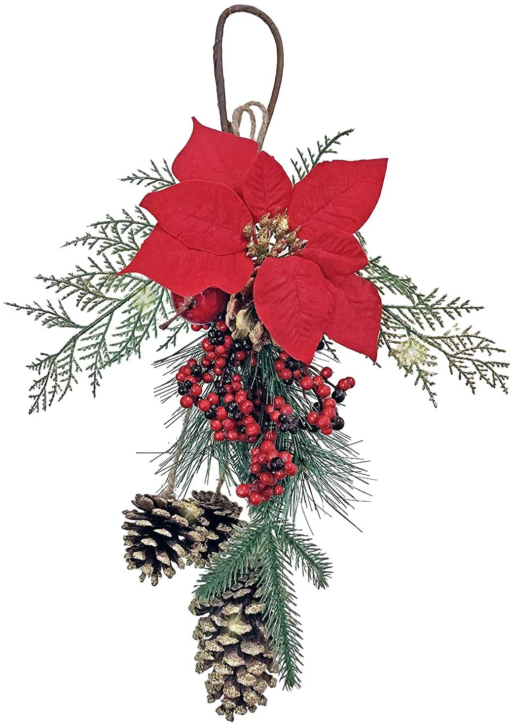 TenWaterloo 18 Inch Artificial Cedar and Pine Christmas Door Hanger with Golden Pine Cones, Faux Berries and Poinsettia Bloom