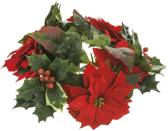 10 Inch Artificial Red Poinsettia Christmas Candle Ring with Holly and Berries, Christmas Pillar Candle Holder