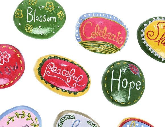TII 16 Painted Inspirational Garden Stones, 2 Inches Each, Resin Rock Art, Painted Rock Sentiments, Rock Painting