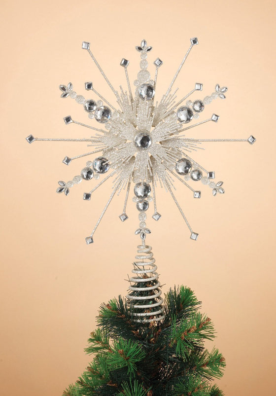 Gerson 13.5 Inches High Plastic Gems Iron Christmas Tree Topper Holiday Decor