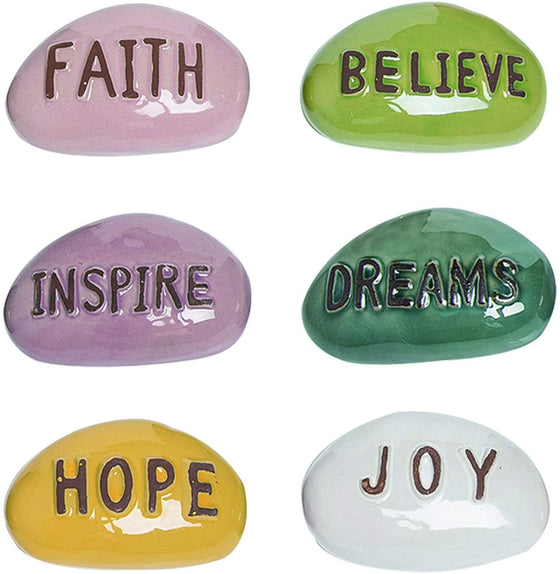 TII Set of 6 Inspiration Stones for Garden and Home Decor in Glazed Ceramic with Embossed Messages, 4 Inches Each
