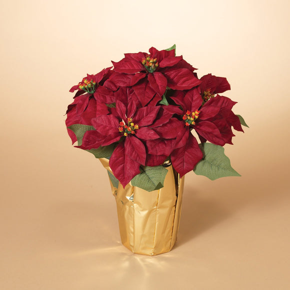 15 Inch Potted Red Poinsettia Plant - Artificial Christmas Poinsettia Plant in Gold Foil Wrap