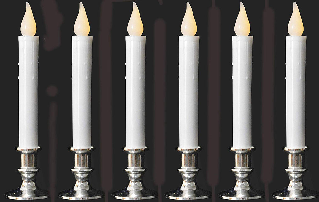 9 Inch High Battery Operated Candolier Candle Lamp in Silver with Timer 6 Pack - Cordless