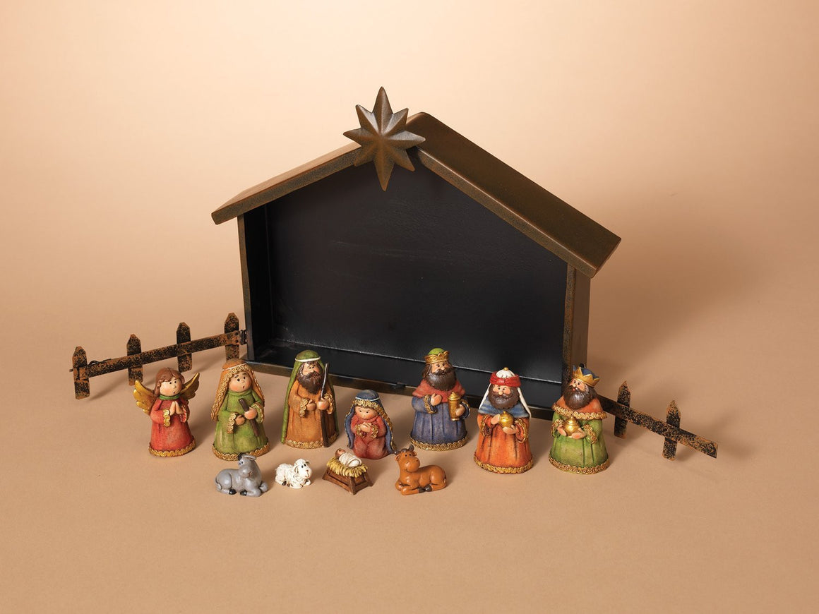 Nativity 11pc Set- Figurines - Beautiful Christmas Home Decor - Metal Creche