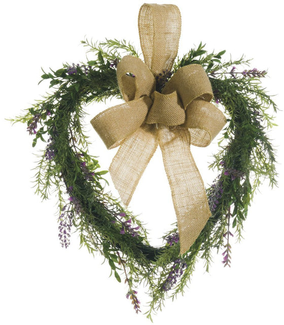 16 Inch Lavender and Rosemary Heart Shaped Wreath on Wrapped Vine Base With Jute Bow