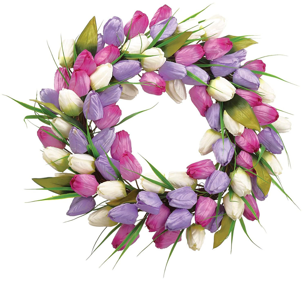Allstate 18 Inch Artificial Tulip Wreath in Lavender, Cream and Purple on a Hand Tied Twig Base, Spring and Summer Front Door Wreath