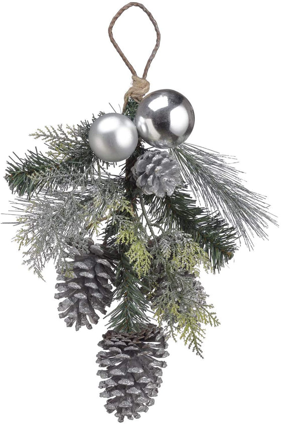 TenWaterloo 16 Inch Silver and Cedar Christmas Door Hanger with Pine Cones and Ornaments, Artificial Pine with Silver Ornaments