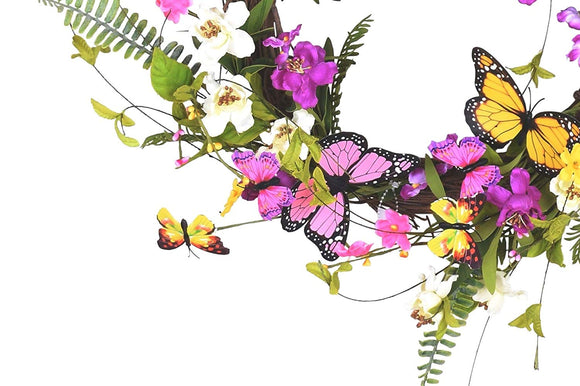 Ten Waterloo 22 Inch Wildflower Butterfly Wreath, Artificial Floral on a Natural Twig Base