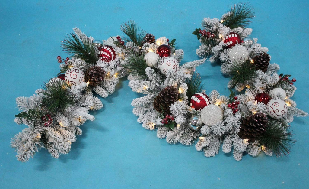 TenWaterloo Christmas Wonderful Winter Collection Snow Flocked Lighted Garland, 6 Foot, with Ornaments and Battery Operated Timer