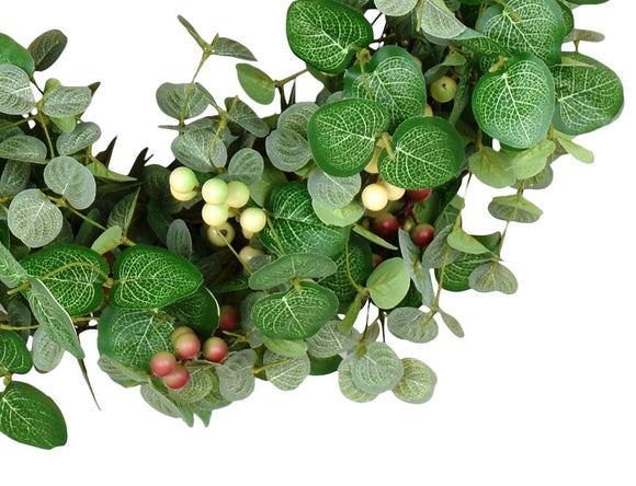 24 Inch Silver Drop Eucalyptus and Berry Spring and Summer Wreath, Artificial Leaves on Natural Twig Base - Green, Cream, Deep Red