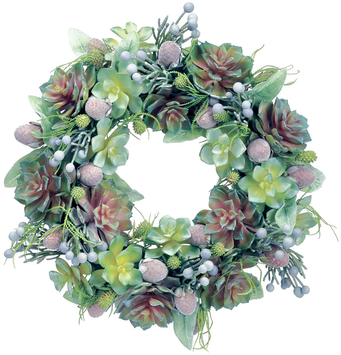Ten Waterloo 18 Inch Succulent Wreath with Echeveria and Mixed Succulents, Spring and Summer Wreath, Artificial Plants