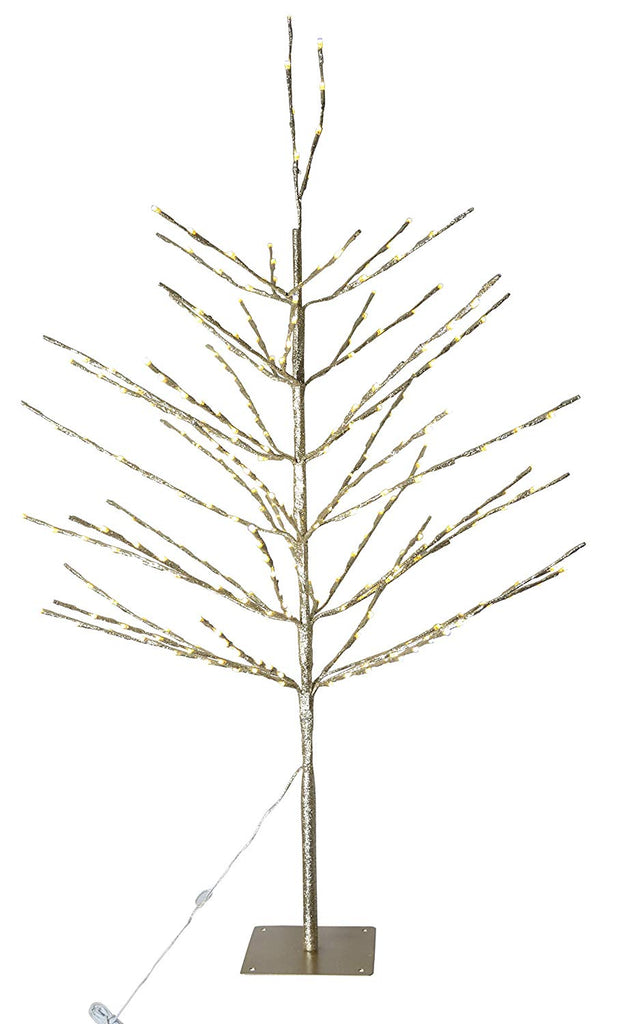 Ten Waterloo 4 Foot High Glittered Gold Lightly Twinkling Pre-Lit Birch Christmas Tree, 280 LED Lights