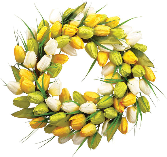 Allstate 18 Inch Artificial Tulip Wreath in Yellow, White and Green on a Hand Tied Twig Base, Spring and Summer Front Door Wreath