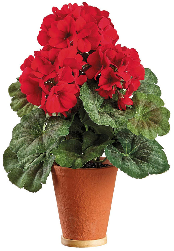 UV Protected Artificial Red Geranium Plant in Terracotta Pot, 13.5 Inch High, Indoor and Outdoor Use