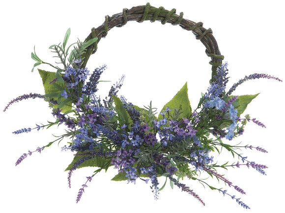 Allstate 24 Inch Lavender and Dianthus Wreath, Artificial Floral on Twisted Vine Look Base, Spring and Summer Front Door Wreath