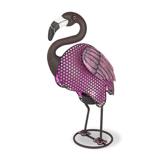 Solar Lighted Pink Flamingo Metal Garden Sculpture 20 Inches High