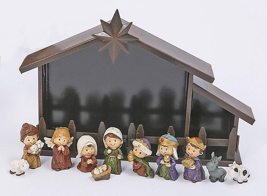 TenWaterloo Charming Christmas Nativity and Creche, Set of 11 Figurines, Mary and Joseph Figurines, 12 Inches x 8 Inches