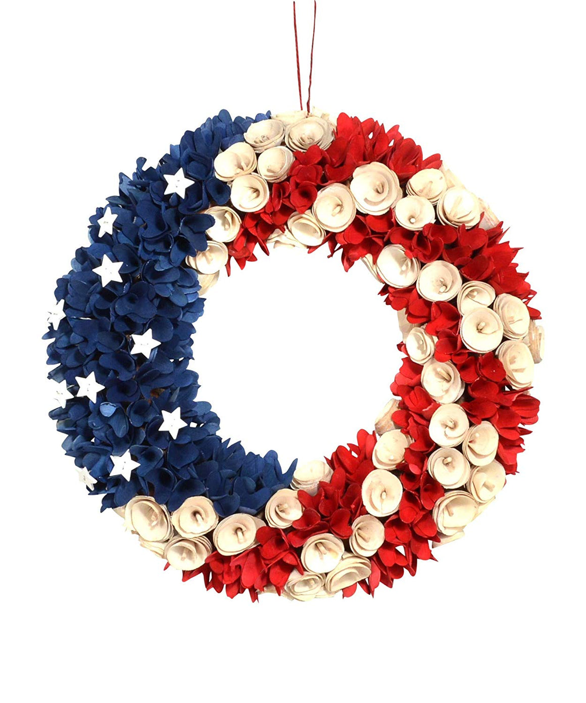 DE 18 Inch Wood Curled Roses Patriotic Wreath in Red, White, Blue, Antique White - Front Door Wreath