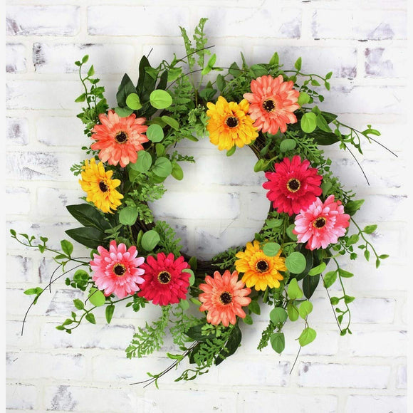 24 Inch Artificial Gerbera Daisy Wreath on a Grapevine Base, Pinks and Yellows