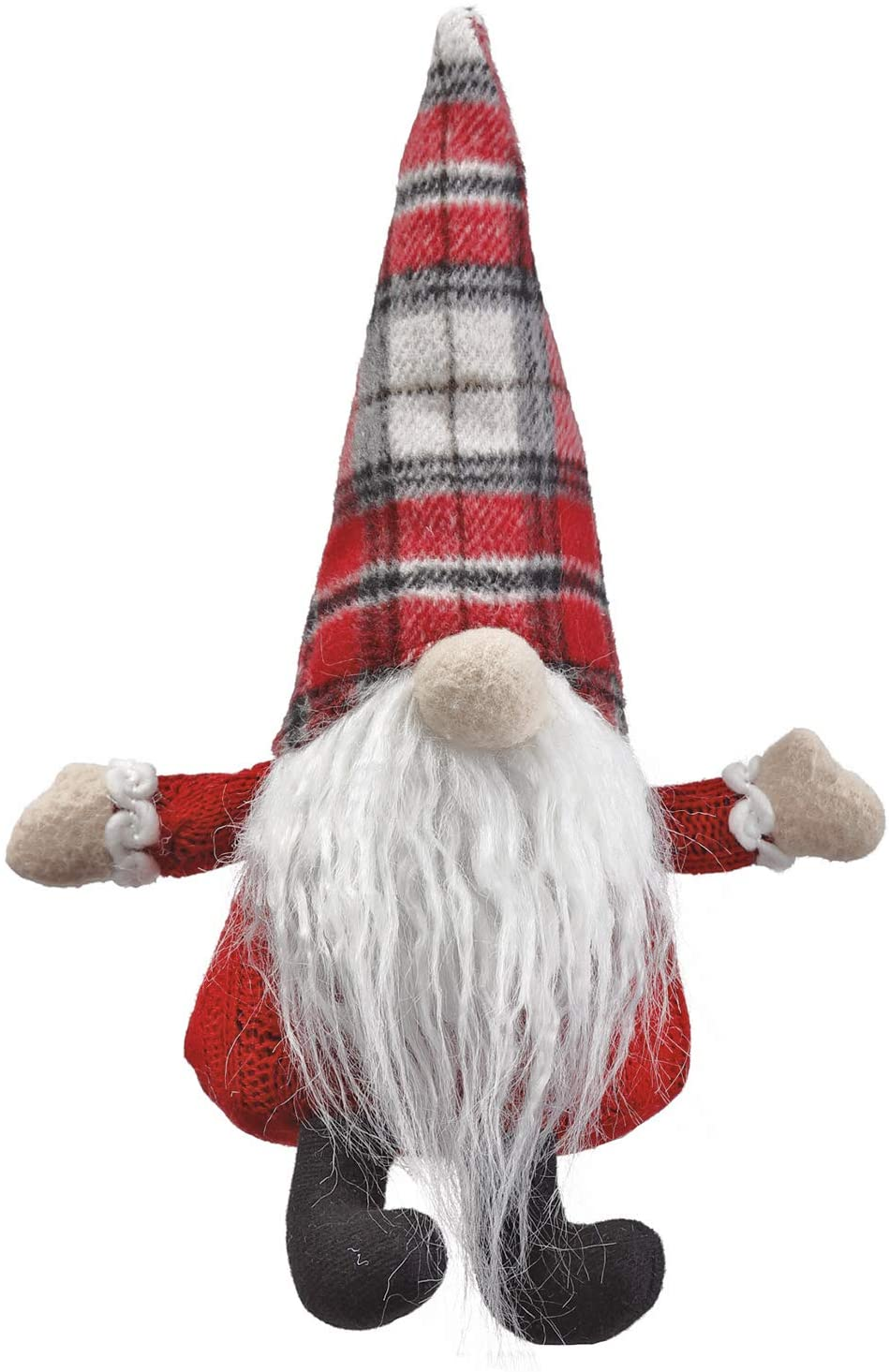 9 Inch Santa Christmas Gnome Shelf Sitter, Plush Gnome with Red Plaid Cap