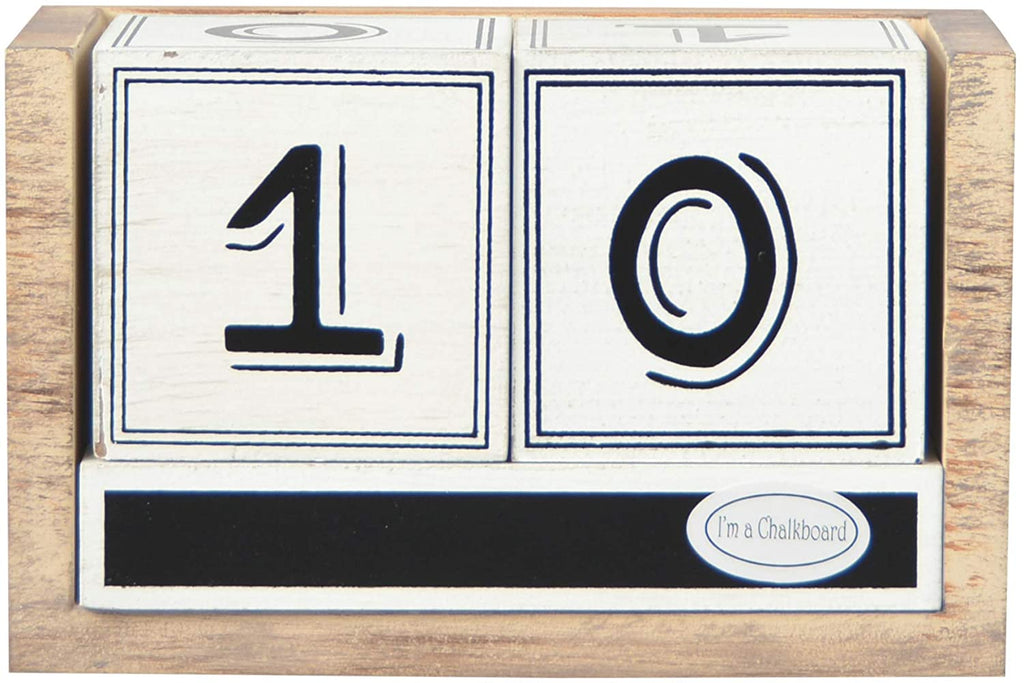 TII Seasonal Countdown Calendar- Halloween, Thanksgiving, Christmas and Blank Chalkboard, Desktop Calendar, Wood, 6.75 Inches x 3.52 Inches x 4.25 Inches