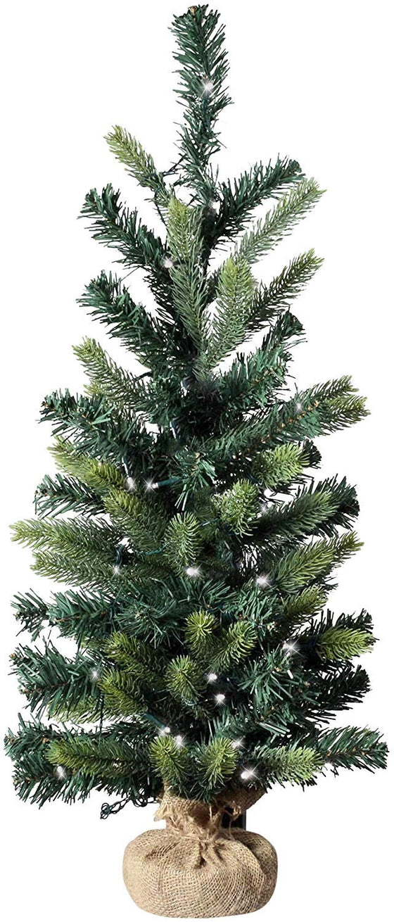 34 Inch Lighted Christmas Mixed Pine Tree and Burlap Wrapped Base, Battery Operated with Timer, Artificial Pine Tree