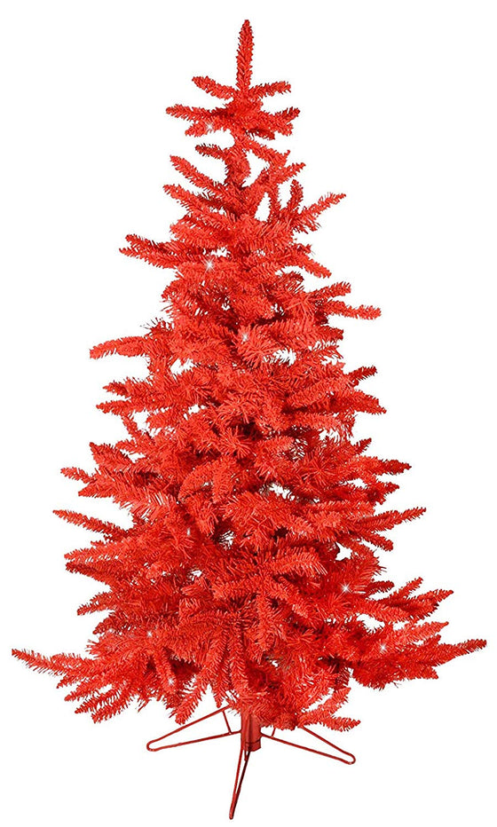 TenWaterloo 4.5 Foot Flocked Red Iced Christmas Tree with Light Glittered Effect