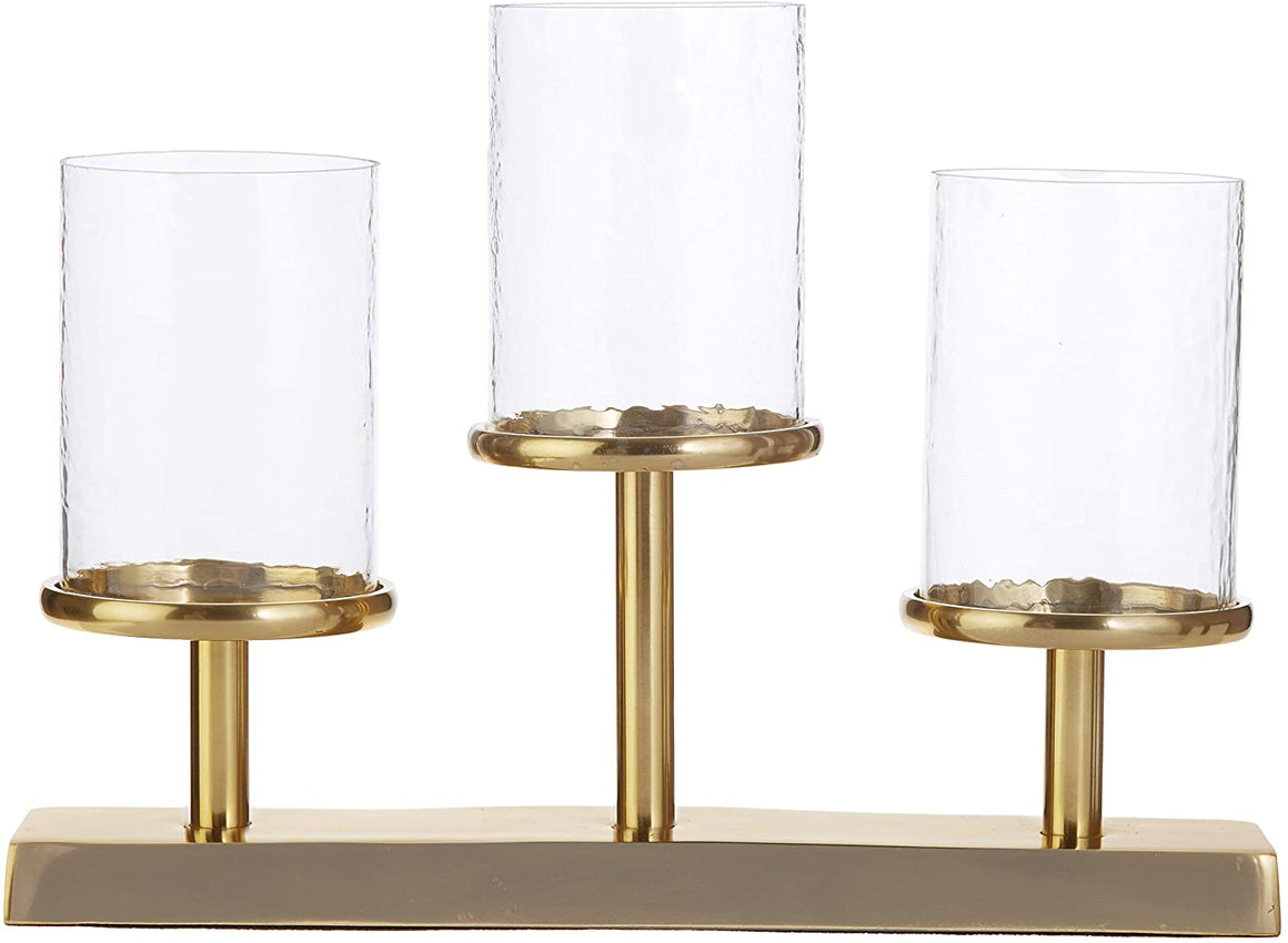 Raz 15.75 Inches Gold Metal and Glass Pillar Candle Holder for 3 Candles