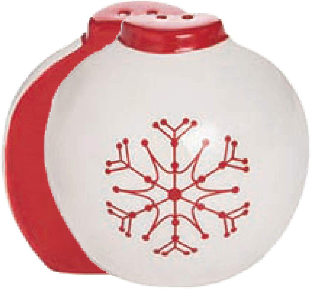 Christmas Ornament Salt & Pepper Shaker Set of 2, Red and White Ceramic