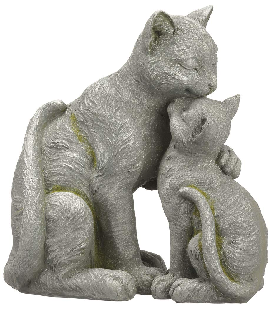 Allstate 12.5 Inch Mother and Kitten Cat Statue, Indoor and Outdoor, Grey Garden Sculpture