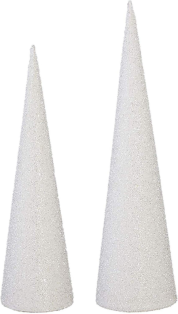 Raz Set of 2 White Glittered Cone Trees, 20 and 24 Inches High