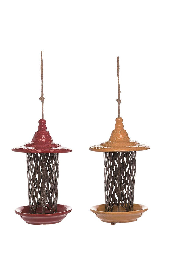 Ten Waterloo Set of 2 Ceramic and Metal Bird Feeders 10 Inches High - Artisan Look