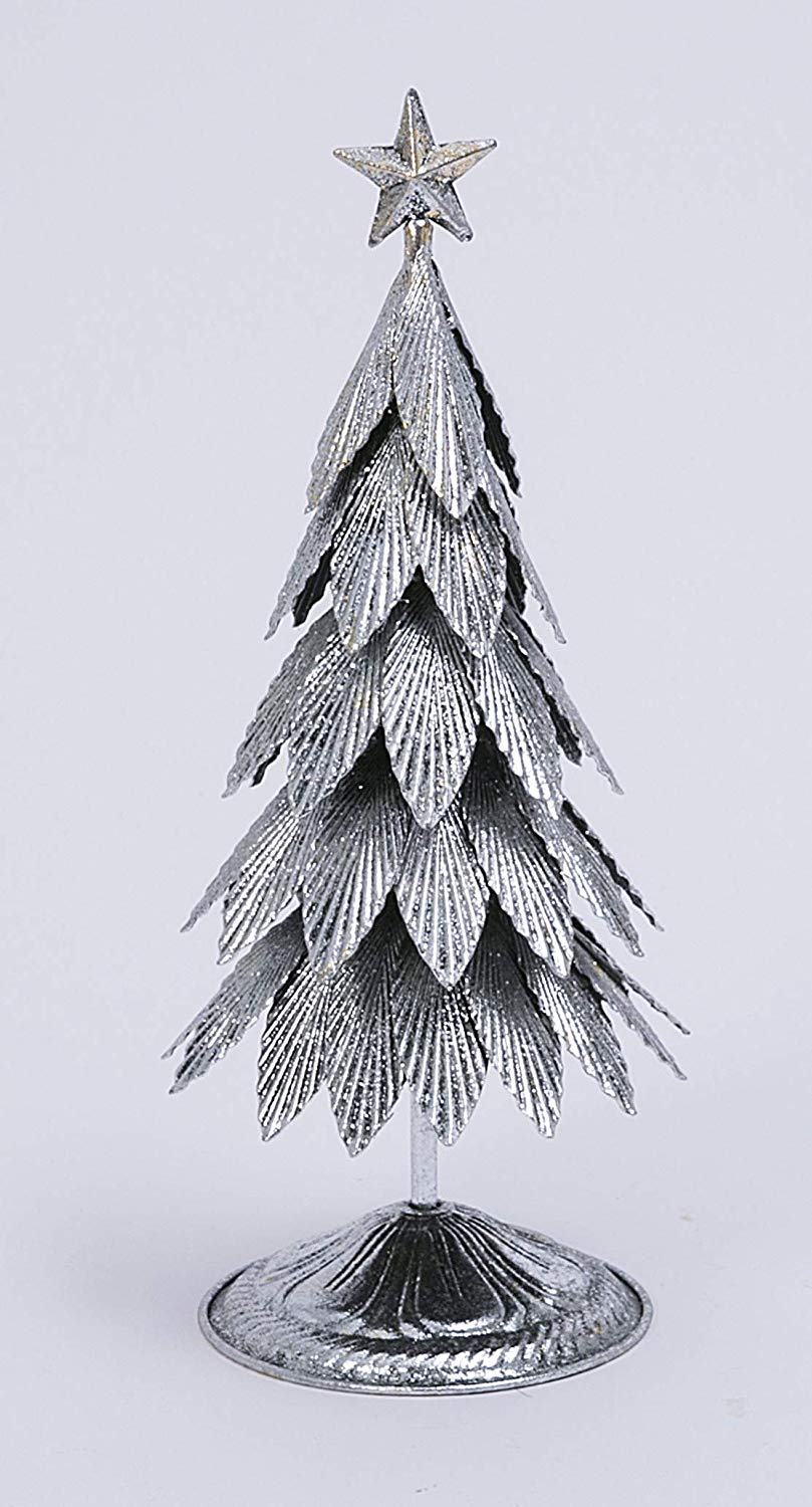 Silver Metal Christmas Tree Sculpture 15.5 Inch High, Antiqued Silver with Gold Tabletop Tree with Light Glitter and Star