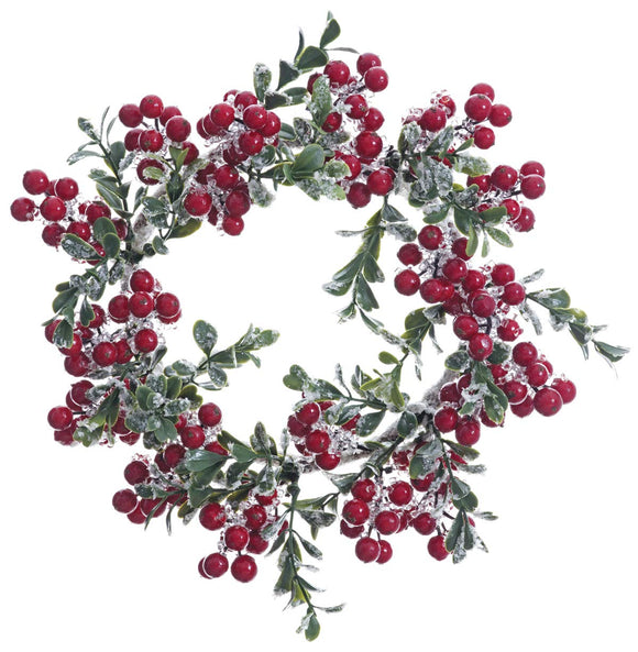 Ten Waterloo 10 Inch Christmas Candle Ring in Iced Berry and Boxwood - Artificial Pillar Candle Ring