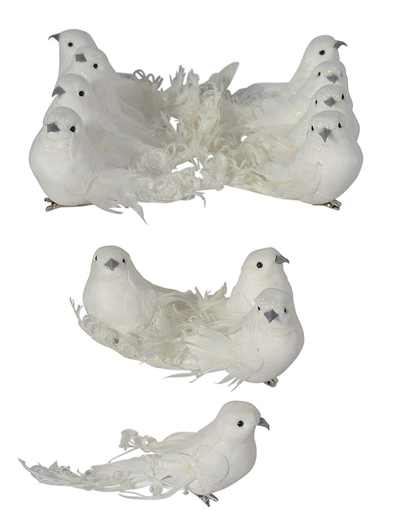 Ten Waterloo Set of 12 White Christmas Dove Ornaments with Clips
