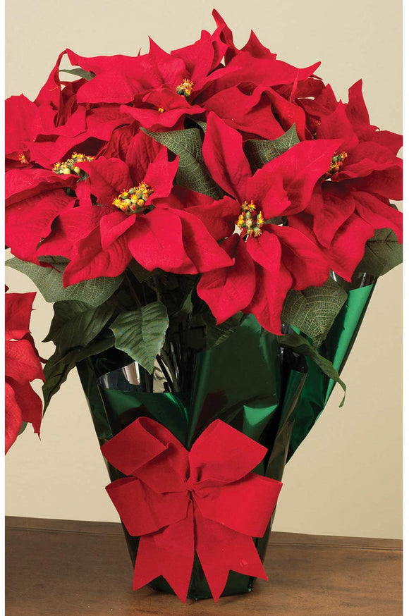 "AC 22"" Potted Red Poinsettia Plant with 10 Flowers and Decorative Bow"