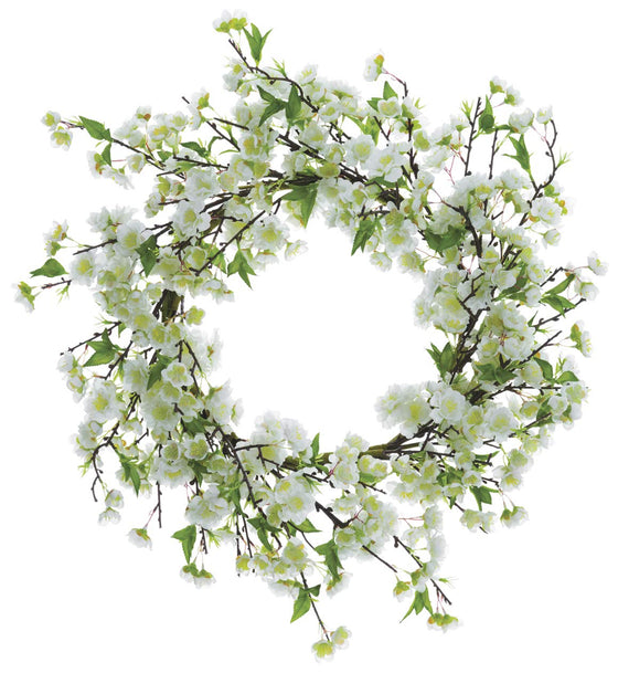 Ten Waterloo 20 Inch White Artificial Cherry Blossom Wreath on a Hand Wrapped Base